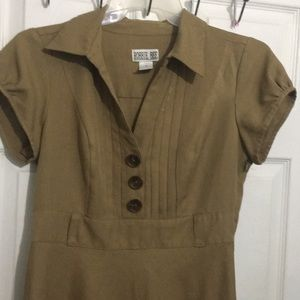 Light brown midi buttoned dress